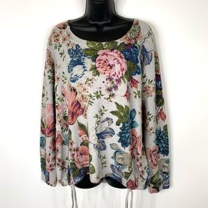 Angel of the North Anthropologie Floral Sweater L